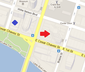 In this example, the red arrow points to the right location, the blue diamond indicates the wrong location